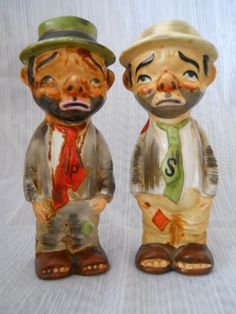 Hobo Salt and Pepper Shakers - vintage, collectible, Japan by DEWshophere on Etsy