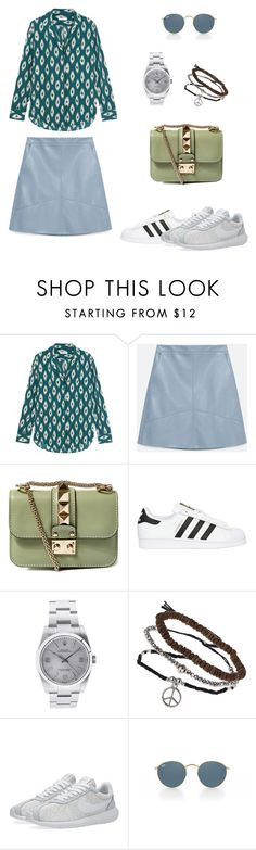 """Untitled #43"" by wooniverse on Polyvore featuring Equipment, Zara, Valentino, adidas Originals, Rolex, Topshop, NIKE and Ray-Ban"