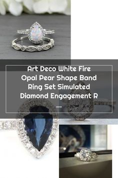 Art Deco White Fire Opal Pear Shape Band Ring Set Simulated Diamond Engagement Ring Teardrop Halo St Wedding Rings Teardrop, Pear Shaped, Band Rings, Diamond Engagement Rings, Halo, Sapphire, Art Deco, Fire, Shapes