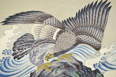 VINTAGE SILK KIMONO FABRIC:Handpaint Flying Hawk/Tsunami@H99