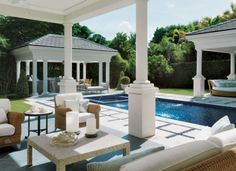 Traditional White Pool Patio