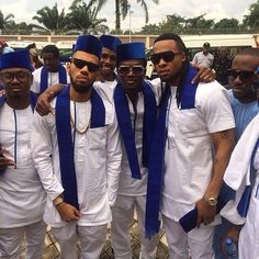 Checkout Nigerian Celeb In Aso-Ebi For Jude Okoye & Ifeoma Michelle Umeokeke's Traditional Wedding - Wedding Digest Naija African Dresses Men, African Men Fashion, African Attire, African Clothes, African Wear, Old Man Fashion, Mens Fashion, Nigerian Outfits, Nigerian Men