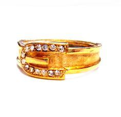 Vintage Gold Rhinestone Ring