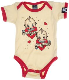 SOURPUSS SMILE NOW ONE PIECE - Suit your little one in this tattoo-style, kewpie doll one piece and let's hope there are more smiles than tears in store. The adorable baby duo is printed on a cream body suit with red trim.
