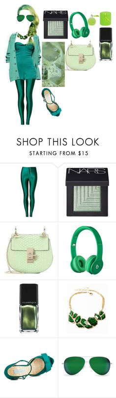 """MONOCHROME: GREEN HAIR"" by egchee ❤ liked on Polyvore featuring Parisian, NARS Cosmetics, Chloé, Beats by Dr. Dre, Ermanno Scervino, Illamasqua, Amrita Singh, Betsey Johnson and Victoria Beckham"