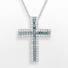 10k White Gold 1/4-ct. T.W. Blue and White Diamond Cross Pendant