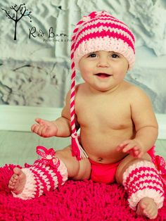 Baby Valentines Pixie Hat and Leg Warmer Set, You choose size. $30.00, via Etsy.