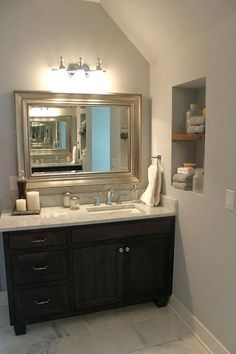 bathroom vanity with right offset sink