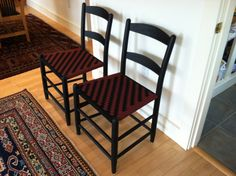 The Classic Tappan Side Chair, in matte black with a black and cranberry herringbone weave. Side Chairs, Dining Chairs, Shaker Furniture, Contemporary, Modern, Herringbone, History, Matte Black, Classic