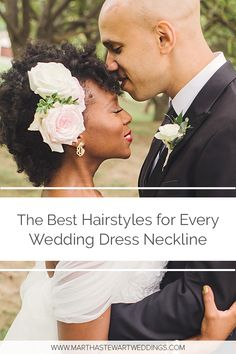 Try adding a floral accessory to your hairstyle for a n off-the-shoulder wedding dress. Take notes from this bride, who pinned back her curls with an ethereal fresh floral headpiece. It perfectly matches her gauzy off-the-shoulder sleeves. Wedding Dress Necklines, Necklines For Dresses, Wedding Dress Styles, Martha Stewart Weddings, Great Hairstyles, Bride Hairstyles, Bridal Beauty, Wedding Beauty, Short Wedding Hair