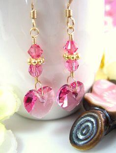 Valentine Rose Pink Swarovski crystal Heart Earrings by KBlossoms, $29.00