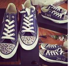 Custom school spirit navy converse bought from jcpenneys used school colored crystals  Follow more on Instagram@firewifemay Navy Converse, Glitter Converse, Converse Style, School Colors, School Spirit, Formal Wear, To My Daughter, Crystals, Sneakers