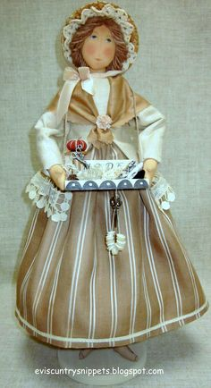 """""""Peddler doll with sewing items."""" I even made a tiny pincushion. This one is hitting home......so what I am about. Evi Araujo, eviscountrysnippets.blogspot.com"""