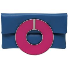 Sylvio Giardina Women Frisbee Leather Clutch (1,180 SGD) ❤ liked on Polyvore featuring bags, handbags, clutches, blue, blue leather purse, leather clutches, blue clutches, real leather handbags and leather purses