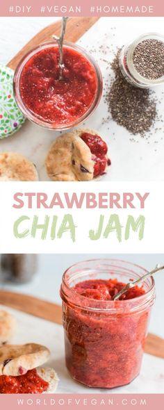 Homemade Strawberry Chia Jam | World of Vegan Recipe Vegan Appetizers, Vegan Snacks, Vegan Food, Vegan Breakfast Recipes, Delicious Vegan Recipes, Jam Recipes, Snack Recipes, Vegan Yogurt, Vegan Hummus