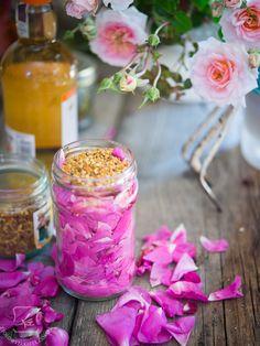 Rose petals with bee pollen