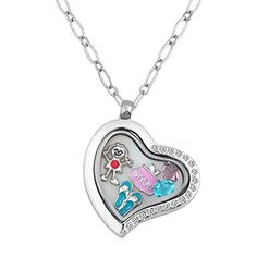 LovelyJewelry Shop Girl Sock Heart Birthstone Crystal Floating Locket Charms Memory Living Locket Necklaces ** For more information, visit image link.