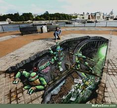 Funny pictures about Teenage Mutant Ninja Turtles Street Art. Oh, and cool pics about Teenage Mutant Ninja Turtles Street Art. Also, Teenage Mutant Ninja Turtles Street Art. 3d Street Art, Amazing Street Art, Street Art Graffiti, Amazing Art, Graffiti Artists, 3d Art, 3d Chalk Art, Illusion Kunst, Illusion Art