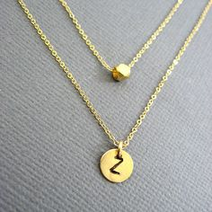 Gold filled disc double layer Initial necklace Vermeil by Muse411, $50.00