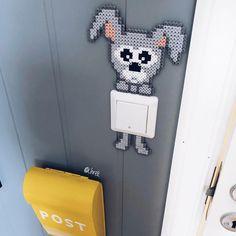 """Krea by Anja Takacs 👈🏽facebook on Instagram: """"Gør det lidt sjovere at være en stikkontakt! 💡Den lille kanin hænger bare smadder fint der 👆🏽😍🐰 Der er forskellige kaniner i 'PERLESjOV'…"""" Perler Bead Art, Perler Beads, By, Stitches, Facebook, Projects, Crafts, Instagram, Hama Beads"""