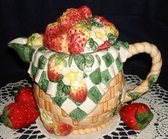 Strawberry Teapot Figural Basketweave Tea Pot Handpainted Green White Checked | eBay