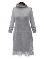Patchwork Attractive High Neck Knitted Dress