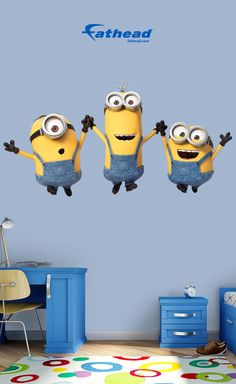 With all of the Fathead decals you get, you can let your child use their creativity to decorate their room. These decals come in a variety of sizes, so you can decorate any room with them. SHOP  http://www.fathead.com/kids/minions/minions-group-shots-wall-decal/ | Kids DIY Bedroom Fun Ideas | DIY Peel + Stick Home Decor | Wall Murals | Fathead Wall Decals | Minions Bedroom