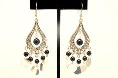 Boho Chandelier Earrings with Black Teardrops by byBrendaElaine, $17.00