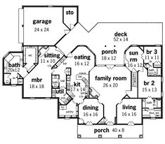 single story open floor plans traditional house plan first floor 020s 0015