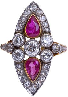 Antique Diamond and Burmese Ruby Ring. ntique cocktail ring with diamonds and two pear shaped Burmese rubies. You know you want to own at least one antique cocktail ring. Well now is your chance to acquire this rare beauty. ~1.10 carats of natural Burmese ruby, ~2.20 carats of old cut round diamonds. Edwardian styling throughout. Via 1stdibs.