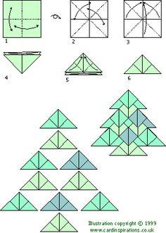 Tea bag folding xmas tree x  Näitä tein yhtenä vuotena joulukortteihin