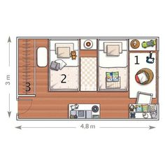 We already showed you interesting room designs for two kids and now it's time to be more specific. Here are 5 cool rooms for two boys with their layouts. Bedroom Setup, Bedroom Layouts, Cute Bedroom Ideas, Room Ideas Bedroom, Shared Boys Rooms, Interior Design Guide, Boys Room Design, Cool Rooms, Girl Room