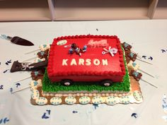 Red Wagon Baby Shower Cake