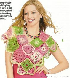 Colorful mini poncho  ♥LC♥ with diagrams