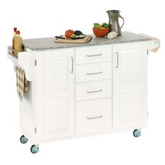 Large White Finish Create a Cart with Salt & Pepper Granite Top