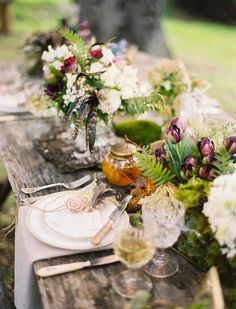rustic + elegant woodland theme tablescape + place setting (not interior but still great styling)