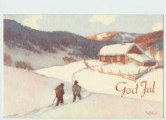 Gerhard Gjerding Norwegian Christmas, Christmas Cards, Christmas Postcards, Vintage Postcards, Norway, Painting, Winter, Holiday, Art