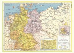 1957 Map of Germany showing Allied Occupation Zones and pre-war German-Polish Border