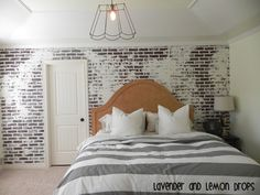 DIY Bedroom brick wall tutorial—use our Gaslight Earthstone panel http://www.decpanels.com/products/earth-stones #fauxbrick #bedroom #DIY