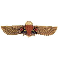 Egyptian Revival Gold, Carved Jasper, Ruby and Enamel Brooch ❤ liked on Polyvore featuring jewelry, brooches, pins, brooch, pin jewelry, carved jewelry, gold jewelry, gold jewellery and enamel gold jewelry