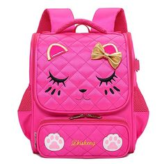 f52e214587a3  30.99 Moonmo Cute Cat Face Pink Kitty Waterproof School Backpack Girls  Book Bag (Small