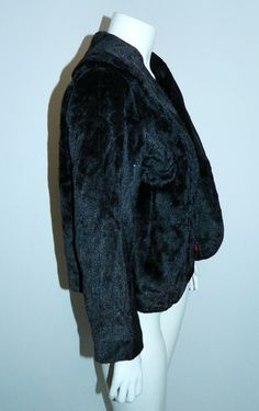 vintage 1950s faux fur jacket black velvet LUREX twinkle evening coat – Retro Trend Vintage