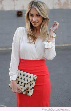 Midi red skirt with a white blouse