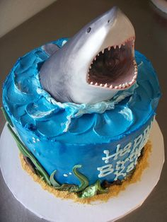 Shark cake by hidelicious, via Flickr, Seth Wants A cake like this For his 8th Birthday !!!