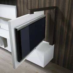 Result image for mobile porta tv orientabile Tv Wall Design, House Design, Swivel Tv Stand, Hidden Tv, Tv Furniture, Wall Mounted Tv, Swivel Tv Wall Mount, Small Spaces, New Homes