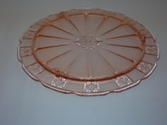 Pink depression glass cake plate in the Doric pattern by Jeannette Glass, circa 1935-38-$35.00