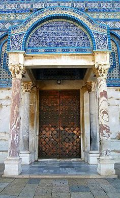 Dome of the rock . Palestine, Al Quds Entrance Ways, Entrance Doors, Doorway, Old Doors, Windows And Doors, Naher Osten, Dome Of The Rock, When One Door Closes, Islamic Architecture