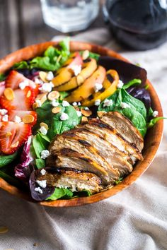 Strawberry Salad with Grilled Nectarines Recipe ~ Strawberry salad is mixed with chicken, grilled nectarines, goat cheese and topped with balsamic vinaigrette for sweet and tangy, healthy summer meal! ~ http://www.julieseatsandtreats.com