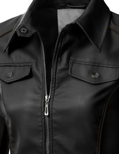 This women's faux leather slim fit rider jacket is a classic must-have piece. This jacket is feminine and edgy at the same time.