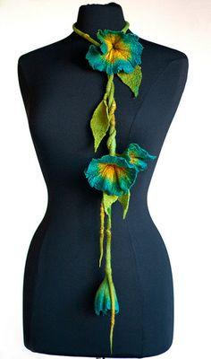 Hand felted, hand dyed with merino wool Felt Flowers, Crochet Flowers, Fabric Flowers, Purple Flowers, Nuno Felting, Needle Felting, Textiles, Moda Vintage, Textile Jewelry